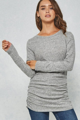 Shirred Side Top in Heather Grey