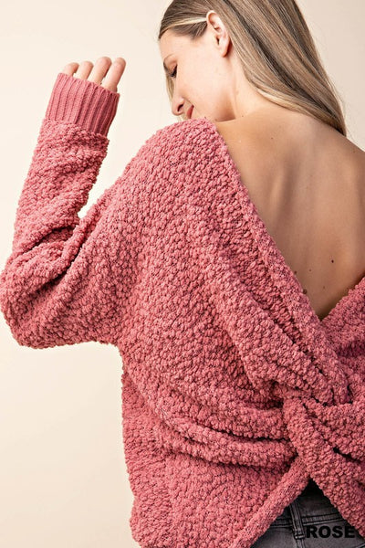 Twisted Back Sweater in Rose