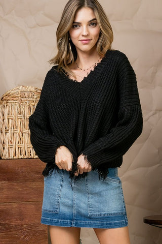 Crushing It Frayed Sweater in Black