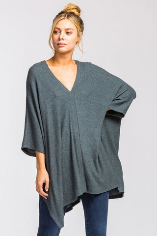 The Perfect Poncho in Steel Blue