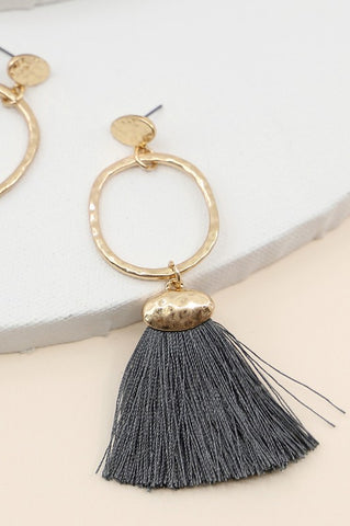 Tassel O Earrings in Grey