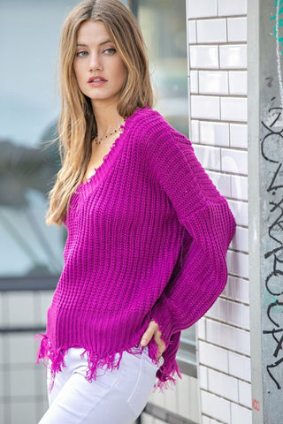 Crushing It Frayed Sweater in Magenta