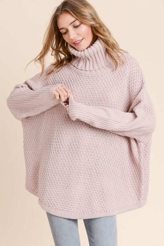 Cozy Cowl Neck Sweater in Mauve