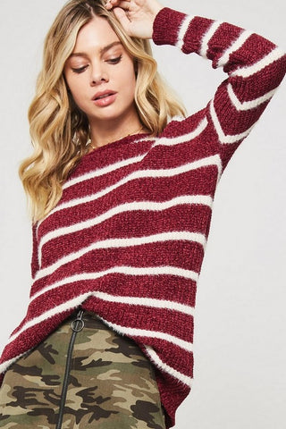 Simply Striped Sweater in Burgundy