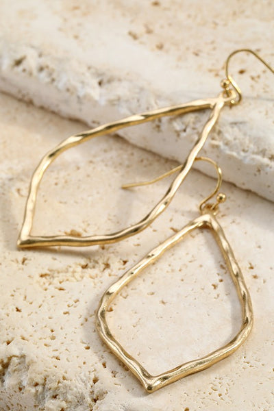 Hammered Metal Marquee Earrings in Gold