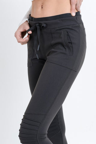 Hybrid Moto Joggers in Charcoal