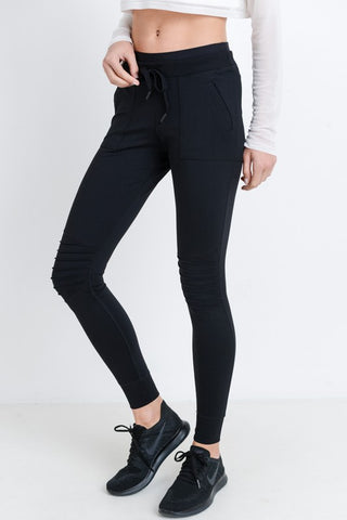 Hybrid Moto Joggers in Black