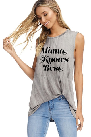 Mama Knows Best Tank in Charcoal
