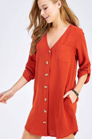 Free Spirit Button Down Dress in Rust