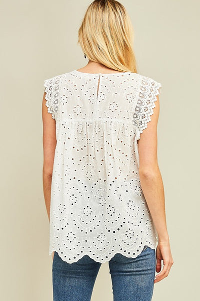 Eyelet Lace Top in White