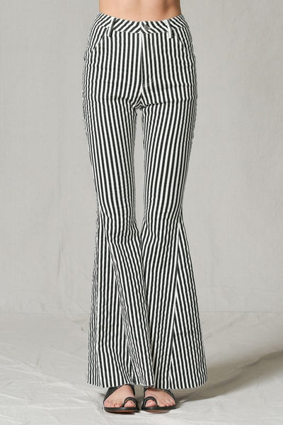 Striped Bell Bottom Jeans