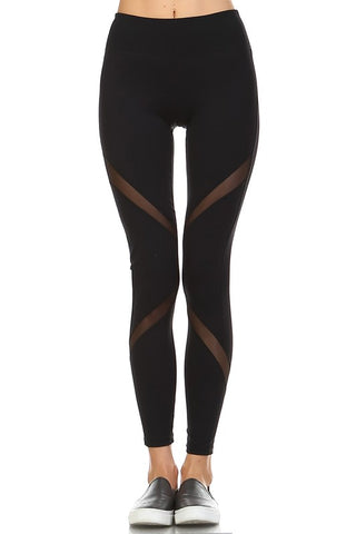 Slanted Mesh Leggings