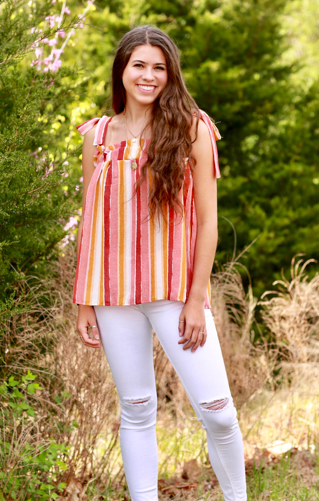 Summer Sunset Tie Top