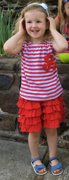 Red and White Ruffle Set