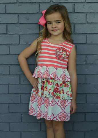 Painted Flowers Ruffle Dress