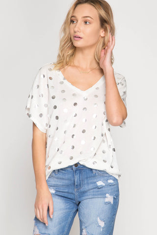 Metallic Polka-Dot Top in White