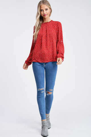 Easy to Please Polka Dot Top in Red
