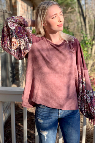 Go with the Flow Top in Mauve