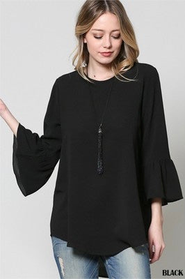 Work to Weekend Woven Top in BLACK