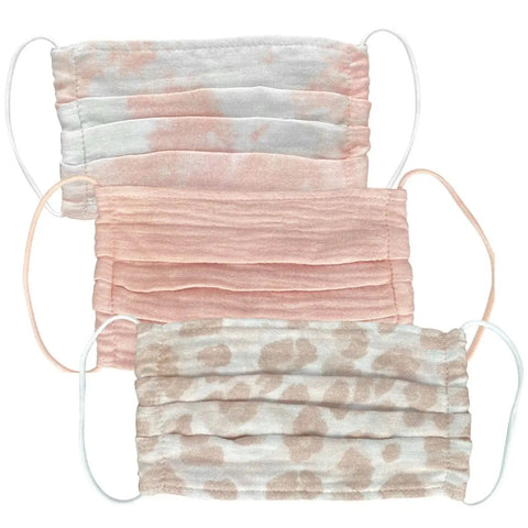3pc Set of Face Mask (4) blush tie dye, blush, light leopard