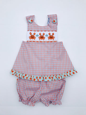 Crab Smocked Bloomer Set