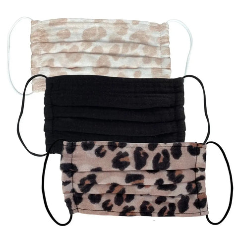 3pc Set of Face Mask (1) light leopard, black, dark leopard