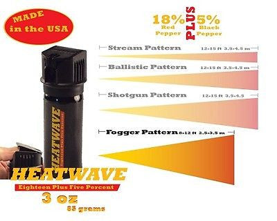 Heatwave Personal Flip Top 3oz Pepper Spray Fog Pattern New-HW3FT-FOG