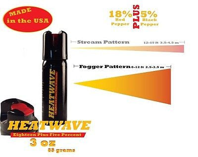 Heatwave Personal Twist Lock Top 3oz Pepper Spray Fog Pattern New-HW3TL-FOG