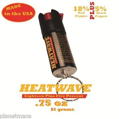 HEATWAVE Personal Pepper Spray .75 oz Canister w/ Key Ring  NEW-HW07C-KR