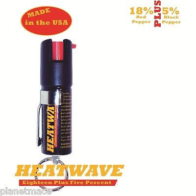 HEATWAVE Personal Pepper Spray .5 oz Canister Pocket Clip Key Ring New-HW05C-RC