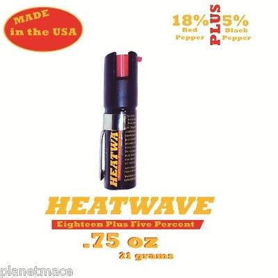HEATWAVE Personal Pepper Spray .75 oz  Canister with Pocket Clip NEW-HW07C-PC