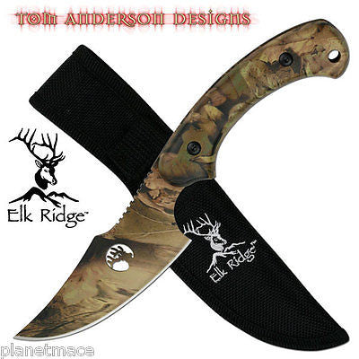 Elk Ridge TA-28 Green Camo Fixed Blade Knife NEW-KER077GRN