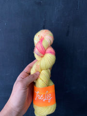 Dishonest Ochre - Asteria: 75% Superwash Merino 20% Nylon 5% Gold Stellina - Sock