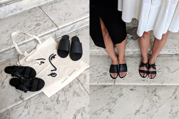 Black minimalist leather sandals - sustainable leather sandals by Alasia Lifestyle
