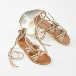 Boho bride wedding sandals, artisan slow fashion leather sandals, made in Greece - Alasia Lifestyle