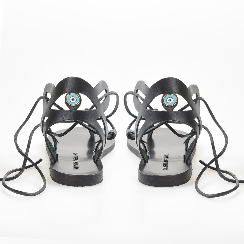 Slow fashion Artisan leather sandals - Alasia Lifestyle, sustainable fashion, made in Greece. Evil eye sandals.