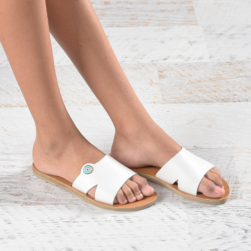 Slow fashion Artisan leather sandals - Alasia Lifestyle, sustainable fashion, made in Greece. Evil eye, nazar.