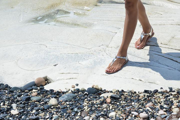 Mykonos Silver leather T bar Sandals (PREORDER)