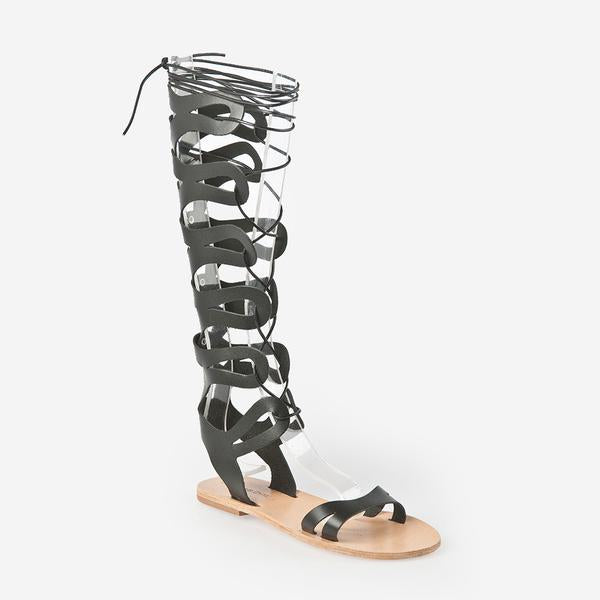 ATHENA KNEE HIGH GLADIATOR SANDALS - BLACK (PREORDER)
