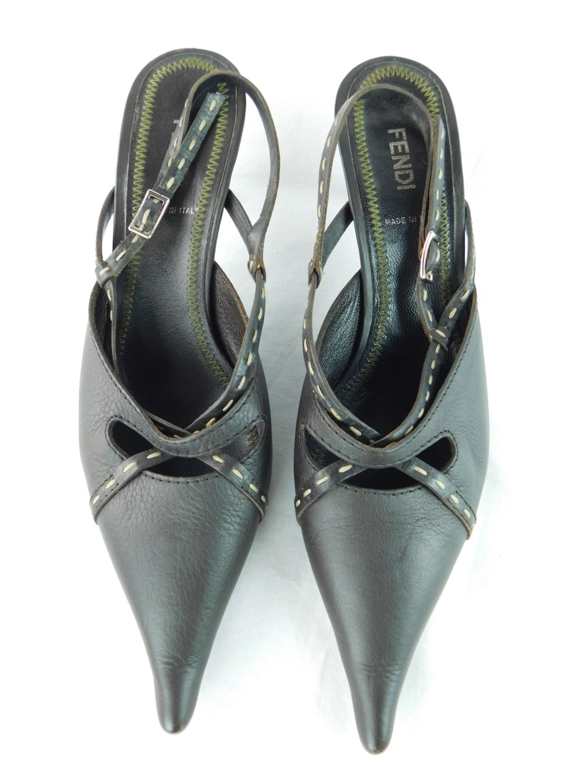Fendi Leather Chocolate Top-Stitch Pointed Kitten Heels, Size 39/8.5