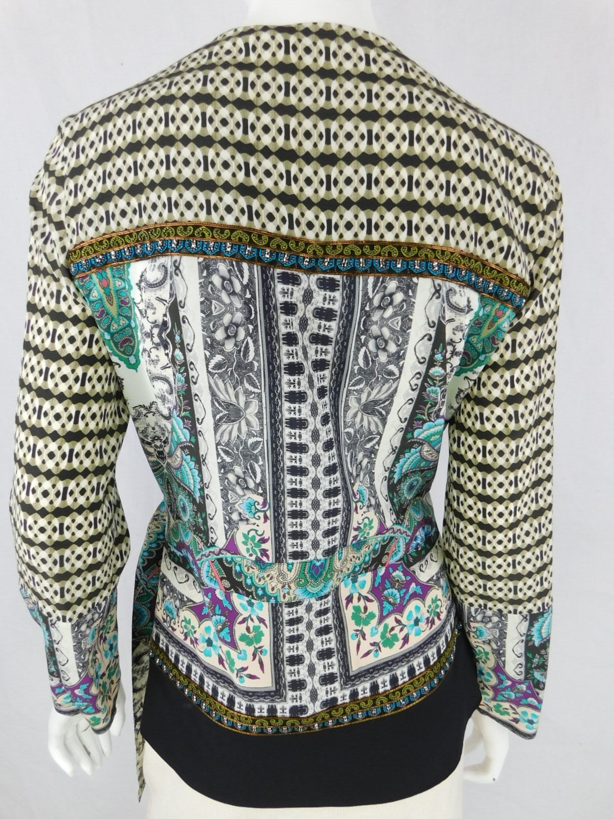 Etro Silk Print Multi-Color Beaded Wrap Blouse, Size 42/6-NWT
