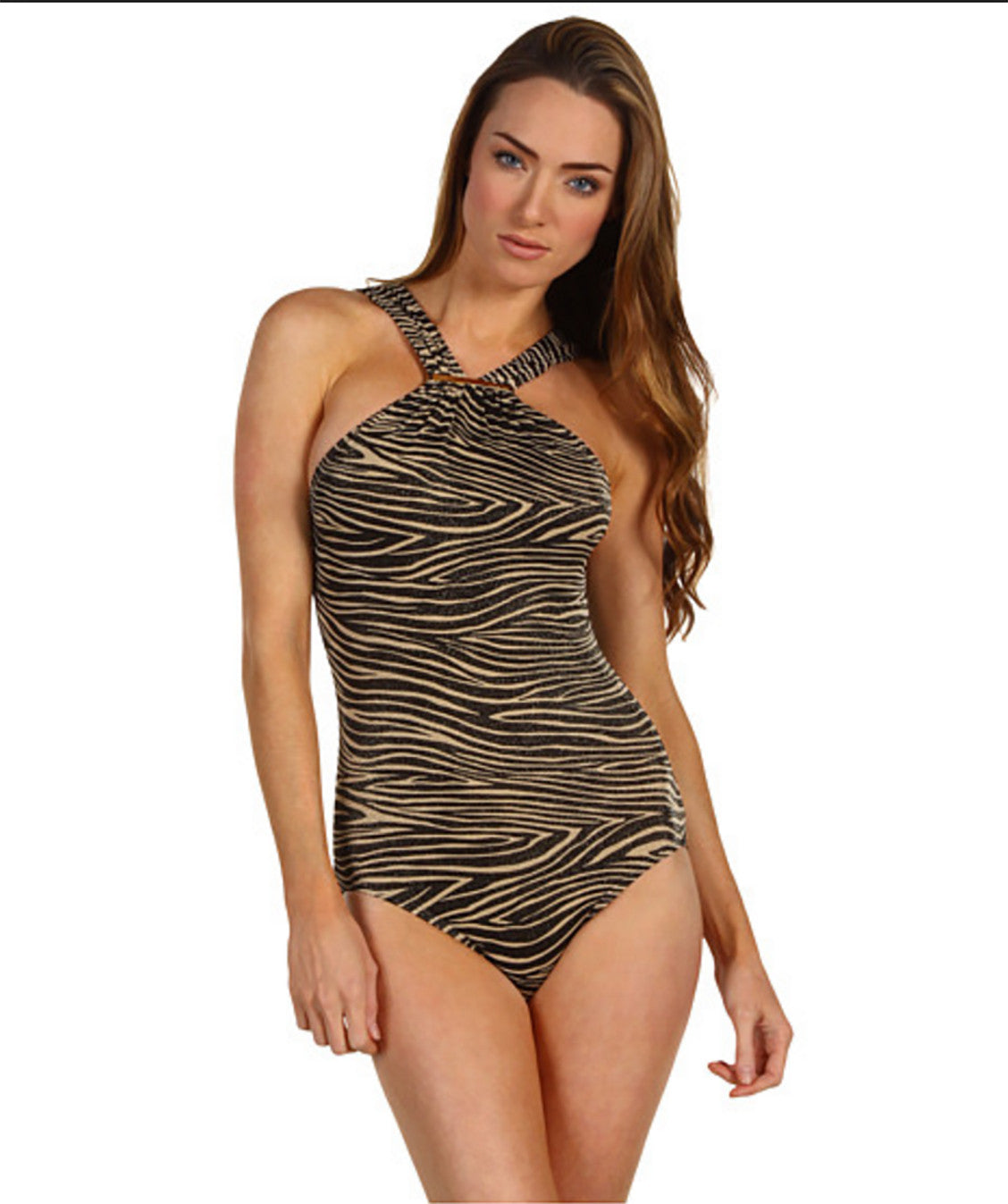 "Michael Kors ""Maillot"" Zebra Lurex One Piece Swimsuit, Size 6-NWT"