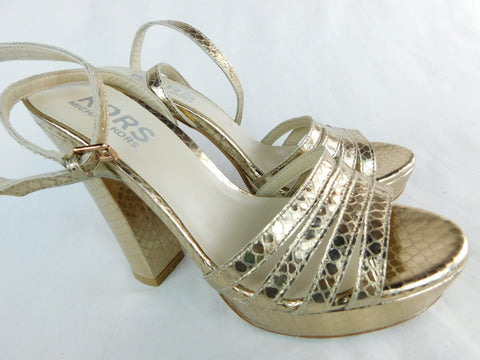 Kors by Michael Kors Embossed Gold Strappy Platforms, Size 7M
