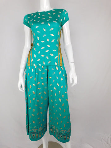 Vintage Jean Paul Gaultier Cotton Teal Gold Lounge Set, Size 42/40