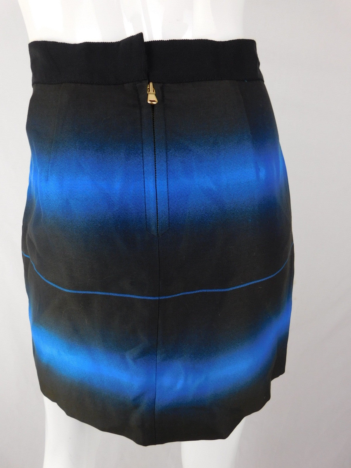 Marc by Marc Jacobs Silk Blue Black Ombre Skirt, Size 6