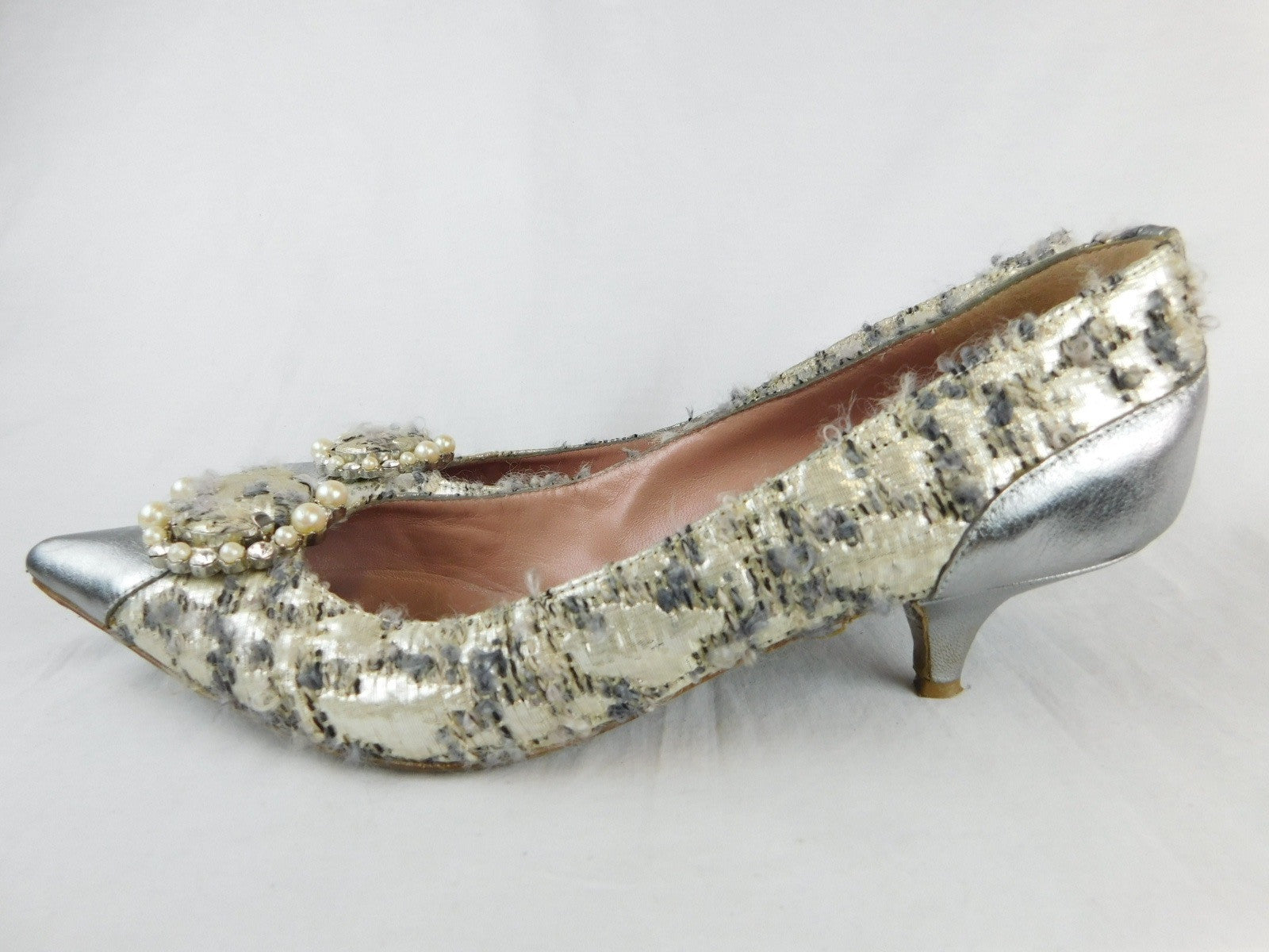 Moschino Vintage Boucle Metallic Silver Pearl Kitten Heels, Size 39/US 8.5