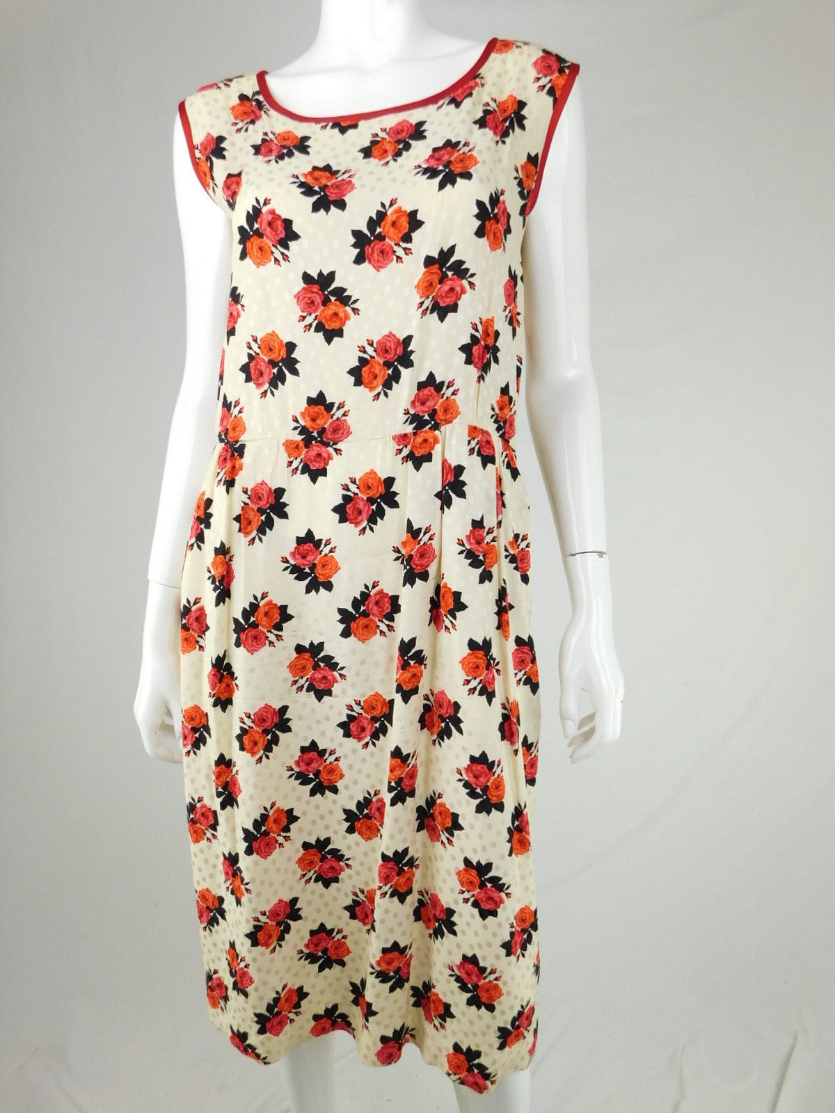 Saint Laurent Vintage Silk Rose Cream Red Midi Dress, Size 42/10