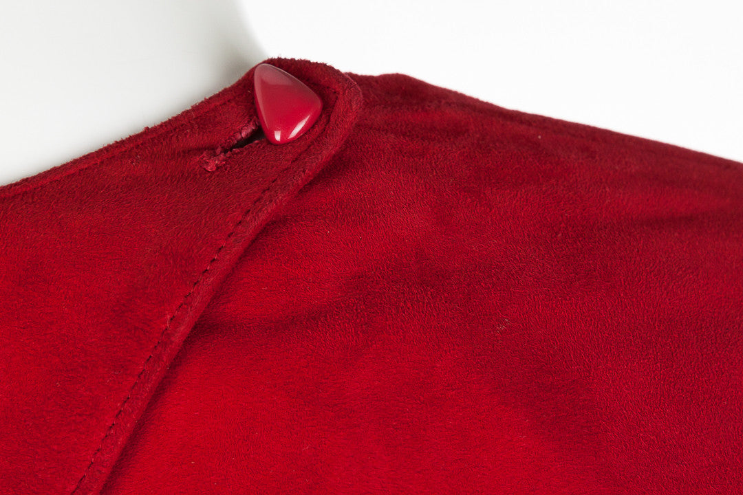 Vintage Vakko Suede Red Peplum Open Back Dress, Size 12