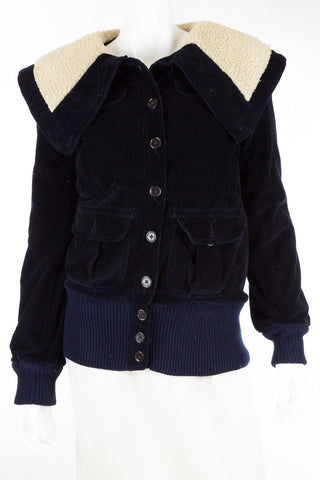 Marc by Marc Jacobs Corduroy Navy Bomber Jacket, Size S