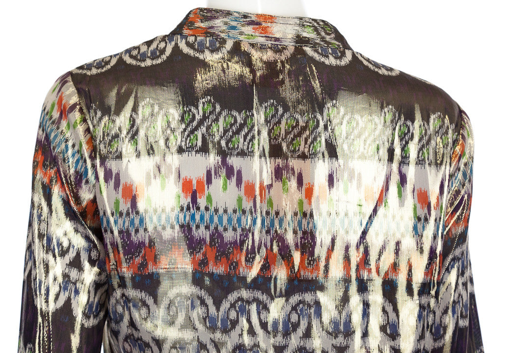 Tory Burch Stephanie Silk Multicolor Ikat Print Metallic Tunic, Size 10-NWT